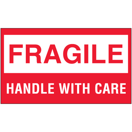 "3 x 5"" - ""Fragile - Handle With Care"" Labels"