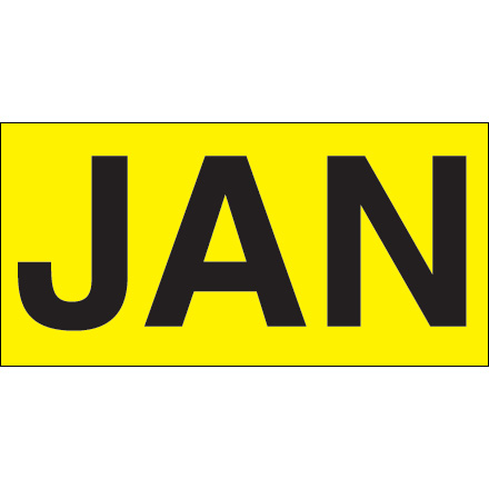 "3 x 6"" - ""JAN"" (Fluorescent Yellow) Months of the Year Labels"