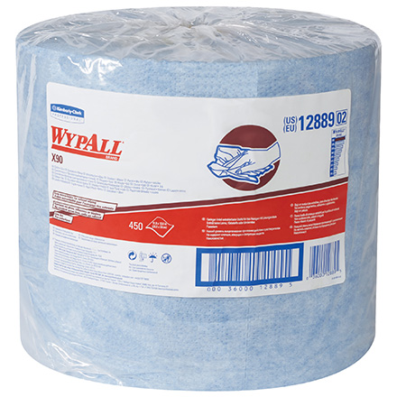 Kimberly Clark<span class='rtm'>®</span> WypALL<span class='afterCapital'><span class='rtm'>®</span></span> X90 Blue Heavy-Duty Jumbo Roll Wipers