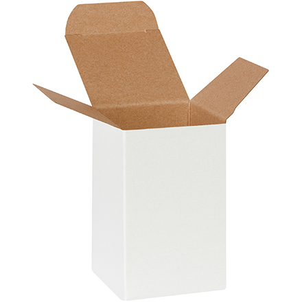 "2 <span class='fraction'>1/2</span> x 2 <span class='fraction'>1/2</span> x 4"" White Reverse Tuck Folding Cartons"